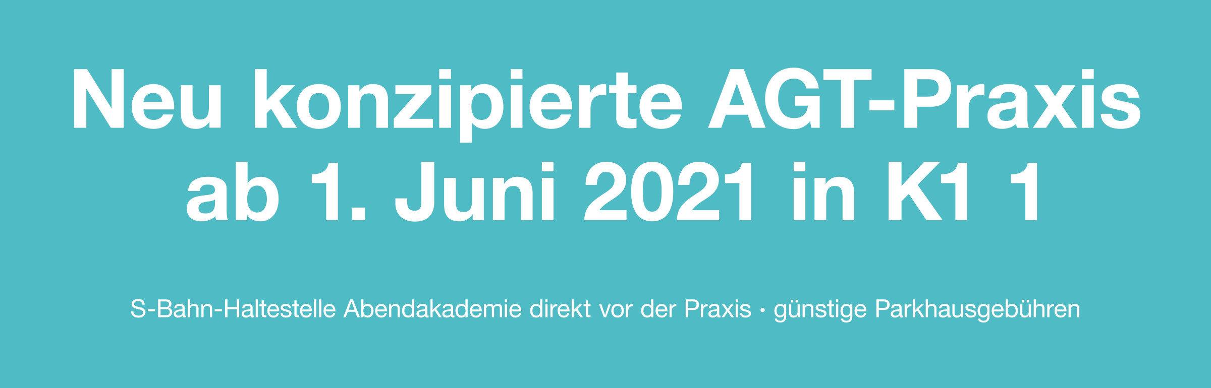 Wir sind umgezogen! Erleben Sie unsere neu konzipierte AGT-Praxis Mannheim ab 1. Juni 2021 im Karree-Mannheim in K1 1 - S-Bahn-Haltestelle Abendakademie direkt vor der Praxis - günstige Parkhausgebühren - behindertengerechter Zugang